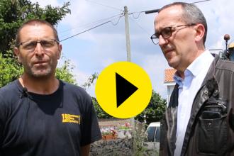 Freddy Bourcier, entrepreneur BTP échange avec Stéphane Rideau, dirigeant RIMAN